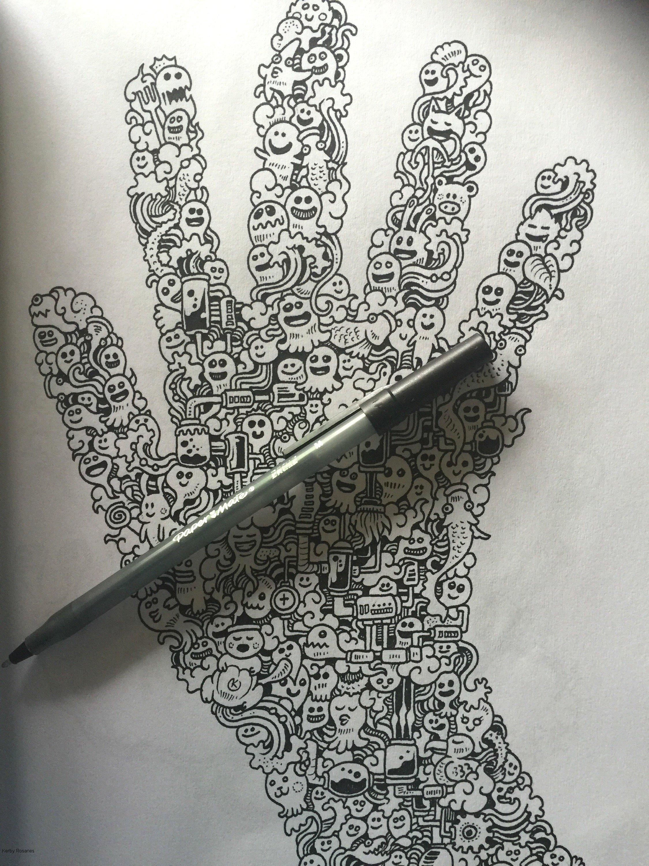 Doodled hand