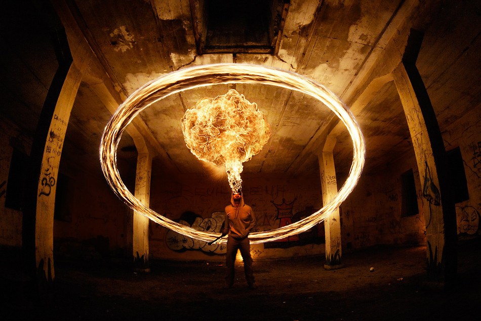 Long exposure image of a fire breather