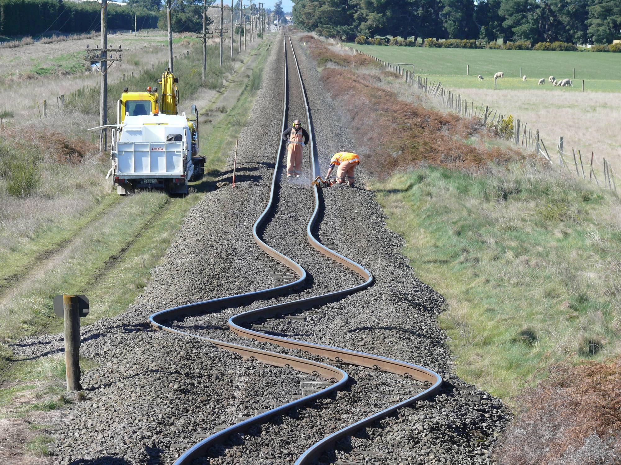 Bent Rail Tracks After A New Zealand Earthquake