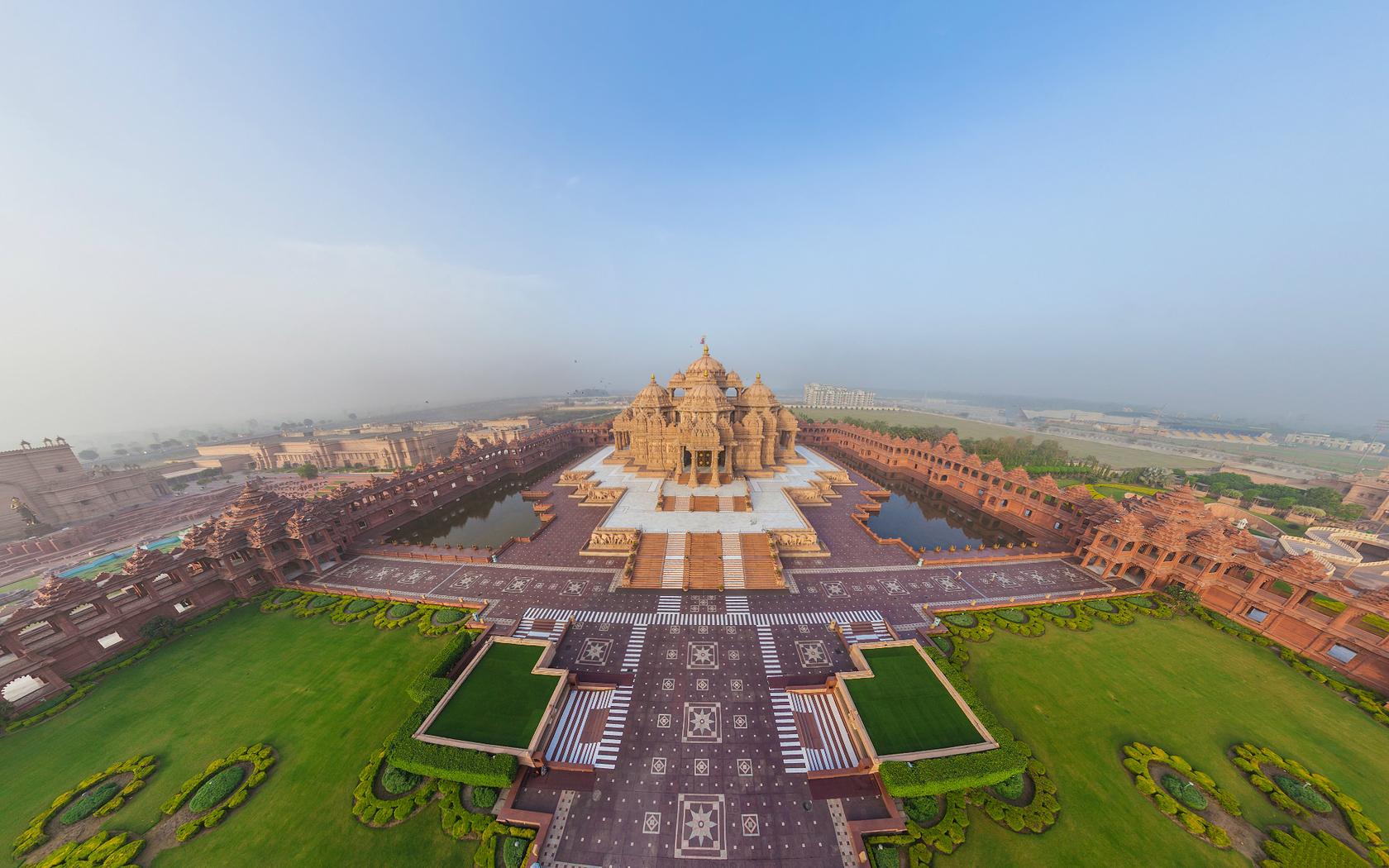 Drone pic of a Delhi Temple