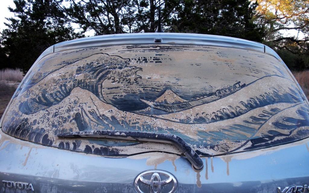 Dusty car window art