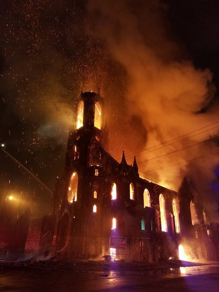 Fire in east St. Louis last night looks like a scene from a movie.
