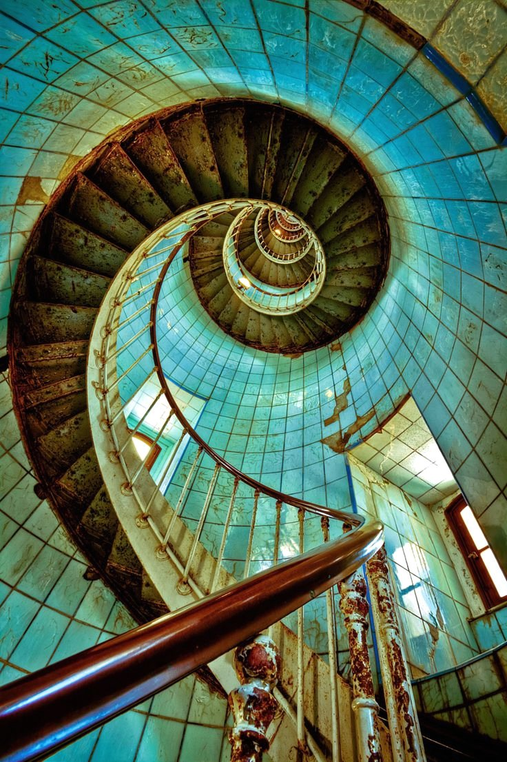 Staircase in an abandoned lighthouse