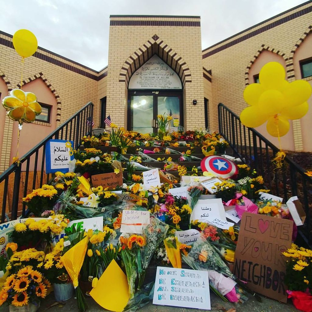 The front of a mosque in Missouri yesterday