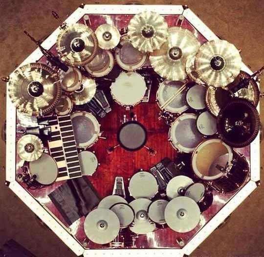 Neil Peart's Massive Drum Set From Above
