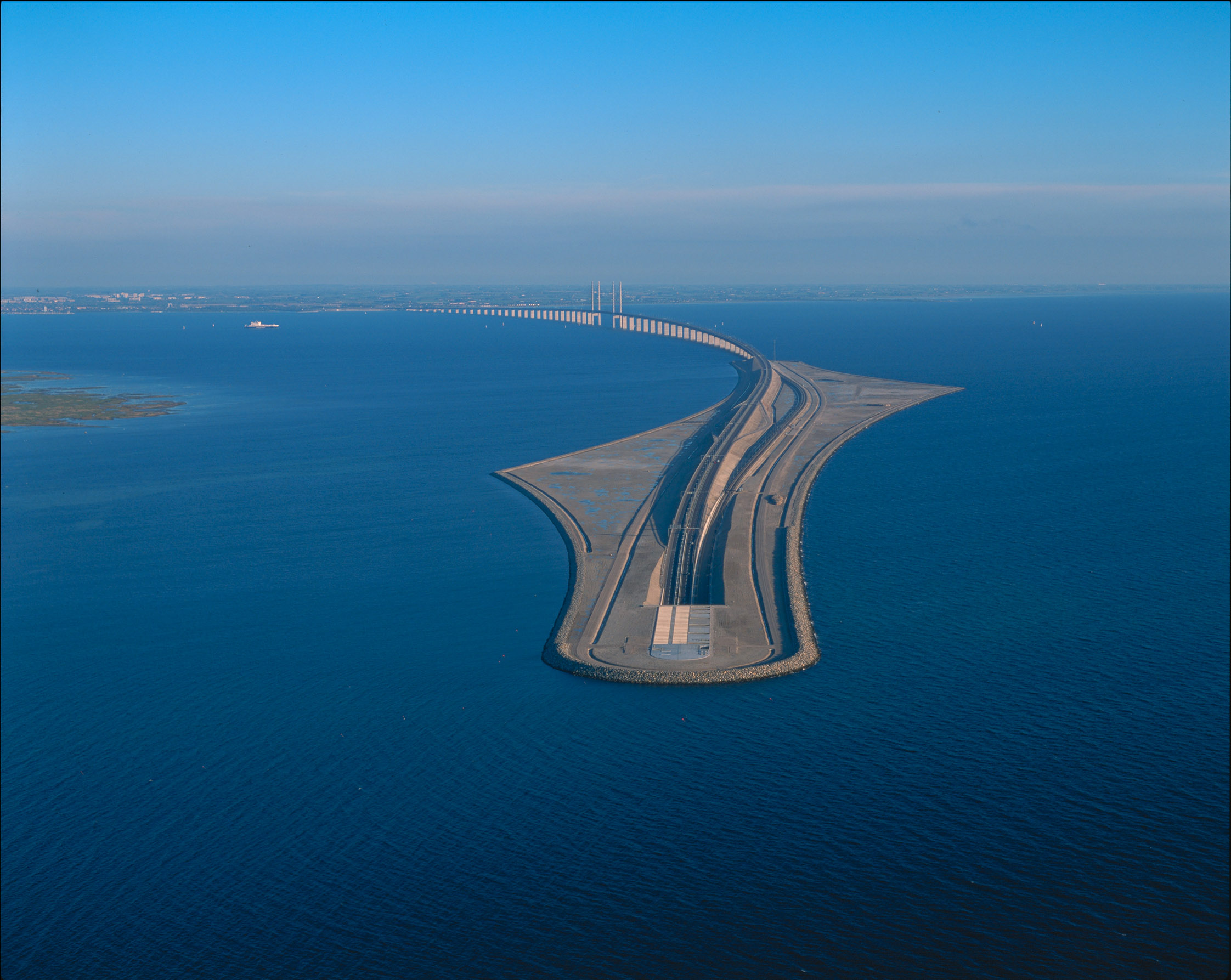 Sweden and Denmark we have a bridge that goes above and below water.