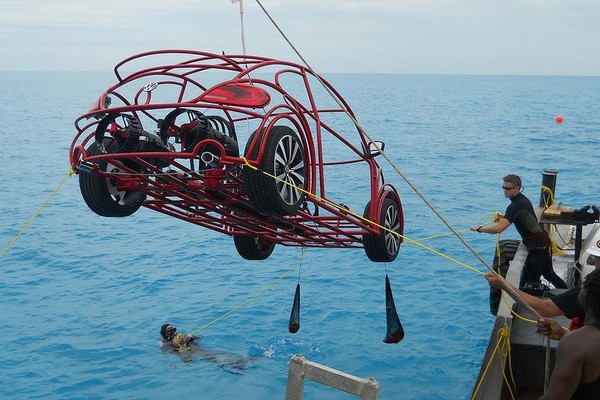 A VW Beetle shark cage