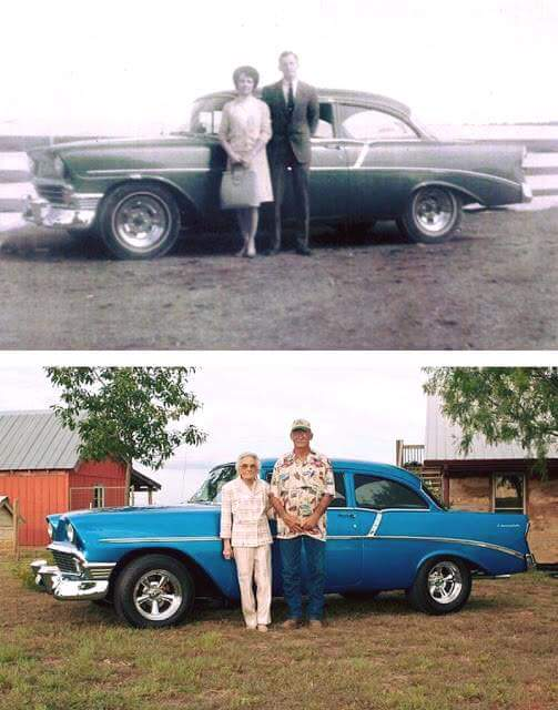 A married couple photographed in 1959 and again in 2009 with the same car, 50 years apart.