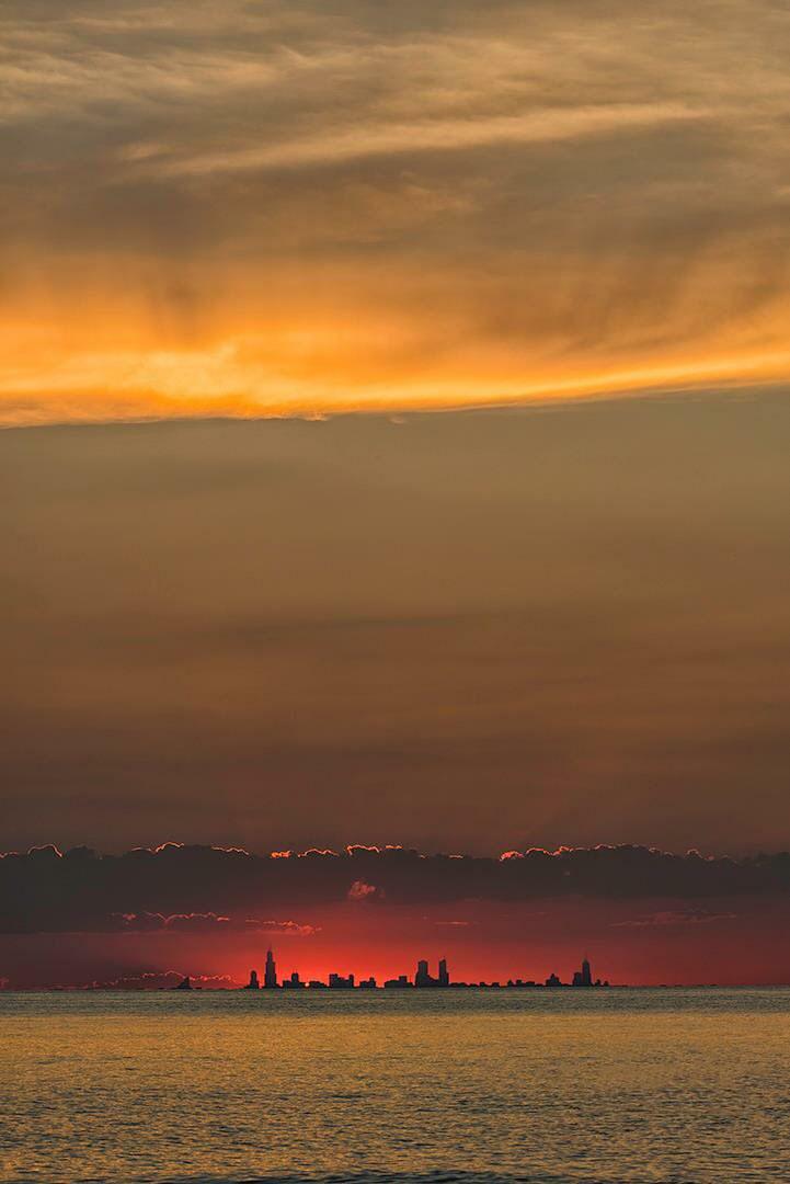 Chicago skyline from afar.