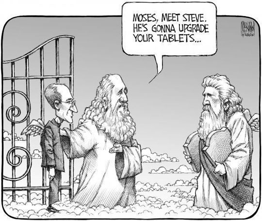 cool-Steve-Jobs-tablet-upgrade-heaven-cartoon