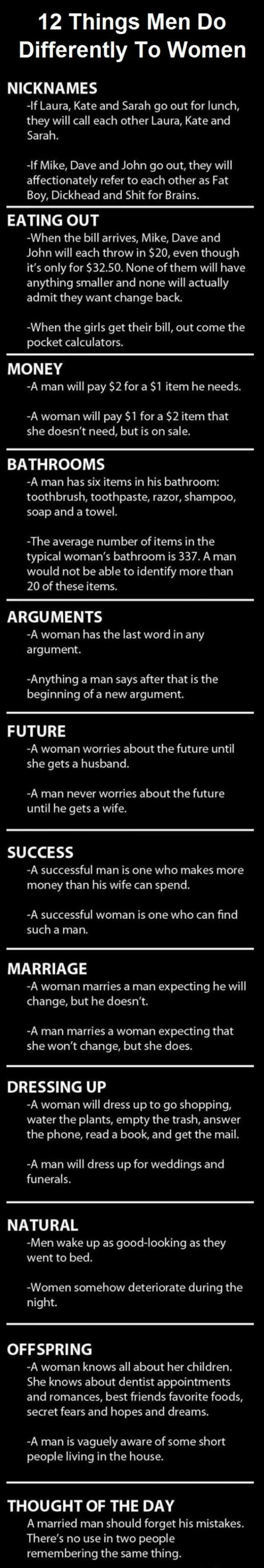 A Few Things Men Do Differently To Women
