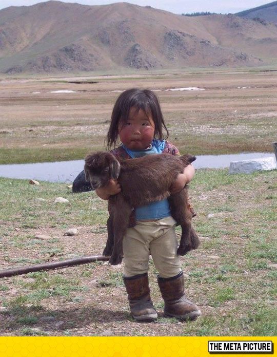 Kid Holding A Baby Goat