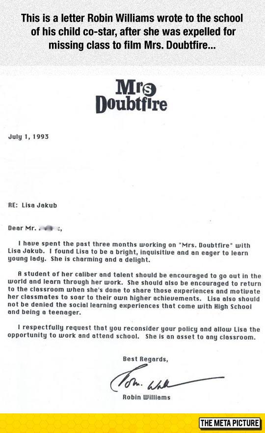 Robin Williams Letter