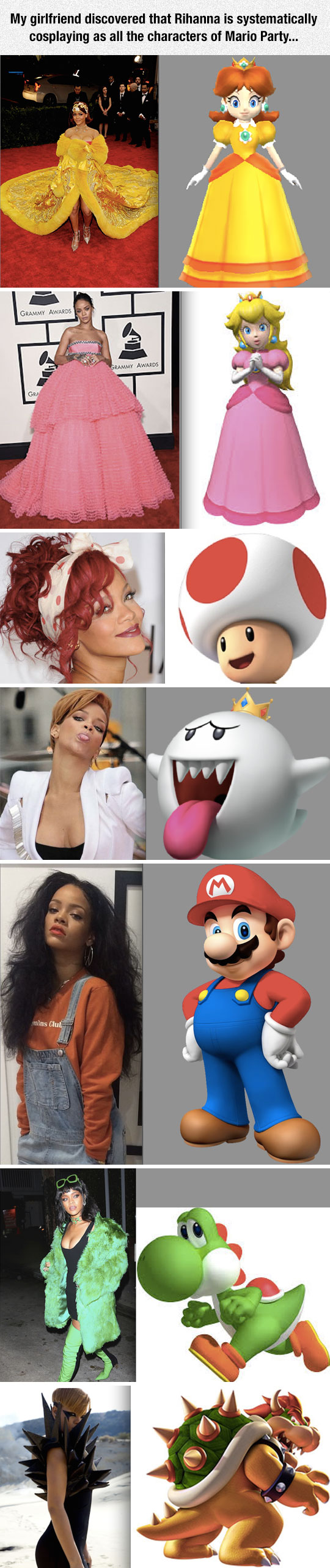 Rihanna Cosplaying Mario Party