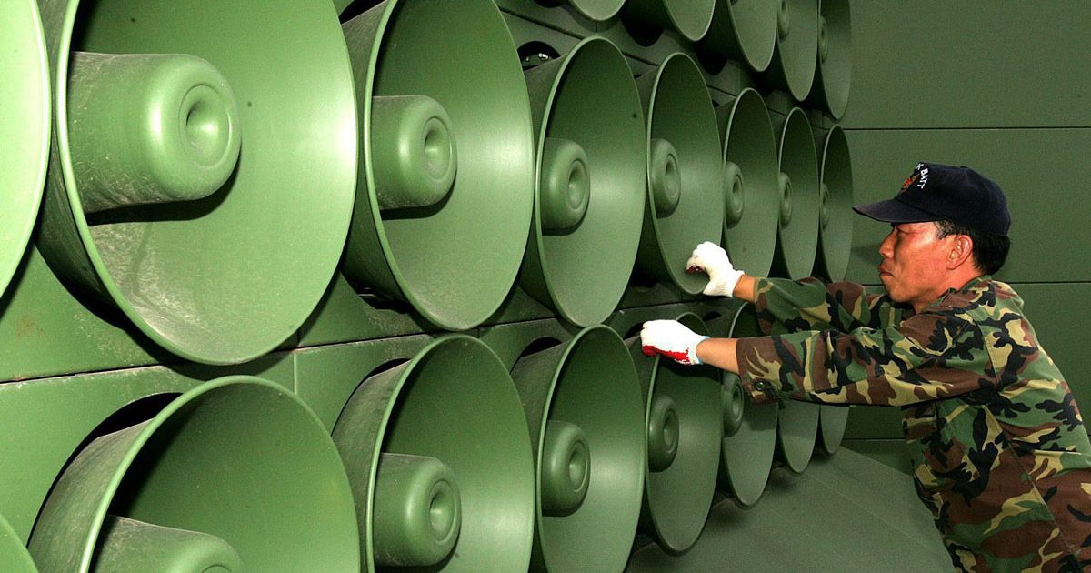 Image result for biggest loud speakers used by south korea