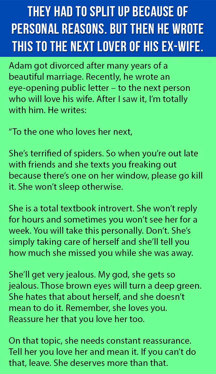 Ex-Husband Writes The Best Letter Ever To The Next Man Who