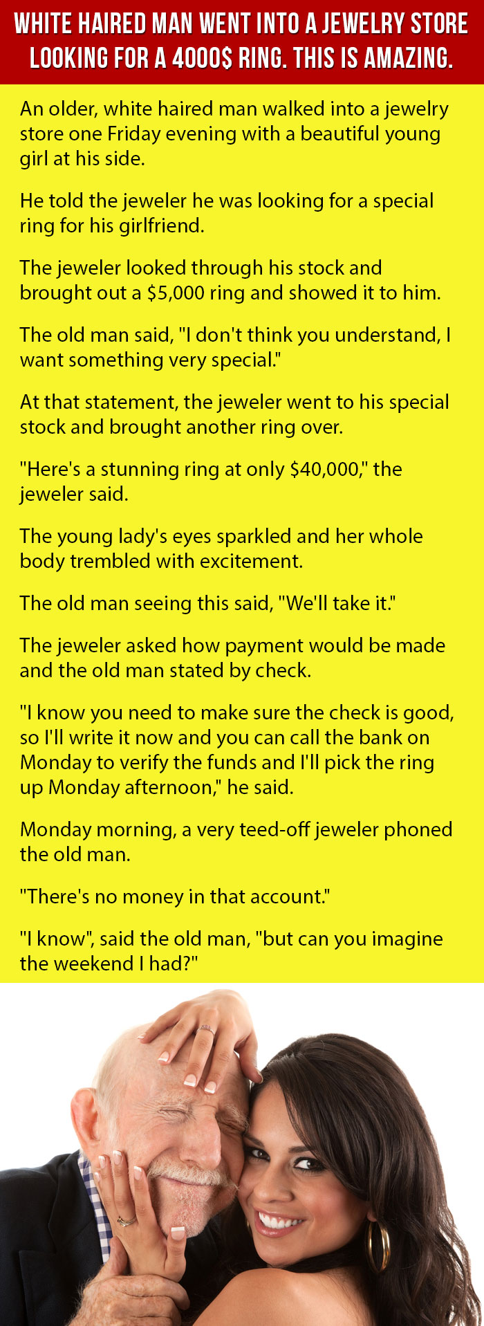 59545105f6f White Haired Man Went Into A Jewelry Store Looking For A 4000  Ring. This  Is Amazing.