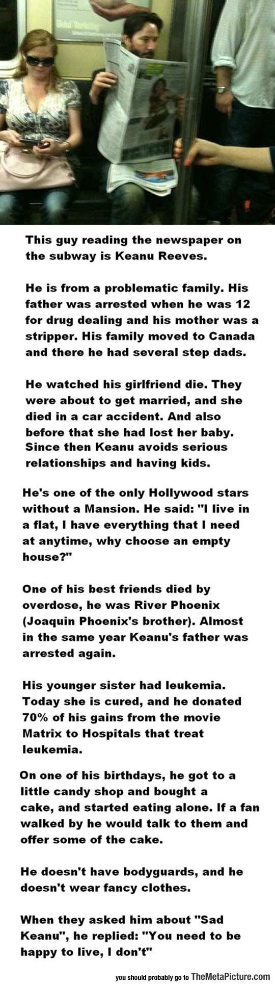 cool-Keanu-Reeves-reading-newspaper-subway